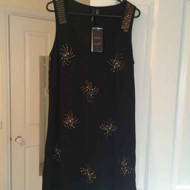 MANGO Suit Black Shimmy Dress