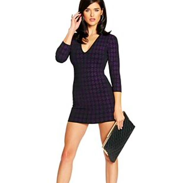 MARCIANO NYE DRESS Bodycon Houndstooth Mini Dress