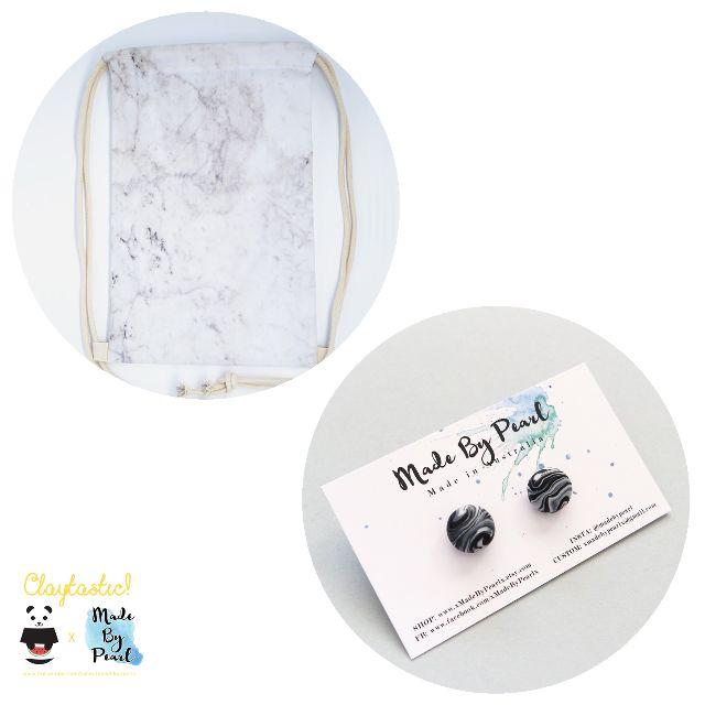 Minimalist Marblelicious Bundle: White Marble (Bag + Earrings)