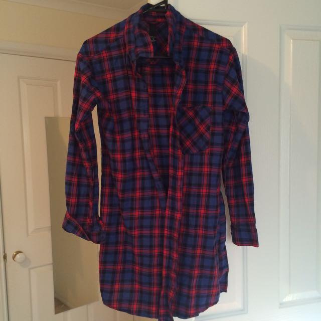 Plaid Button Up Shirt/dress