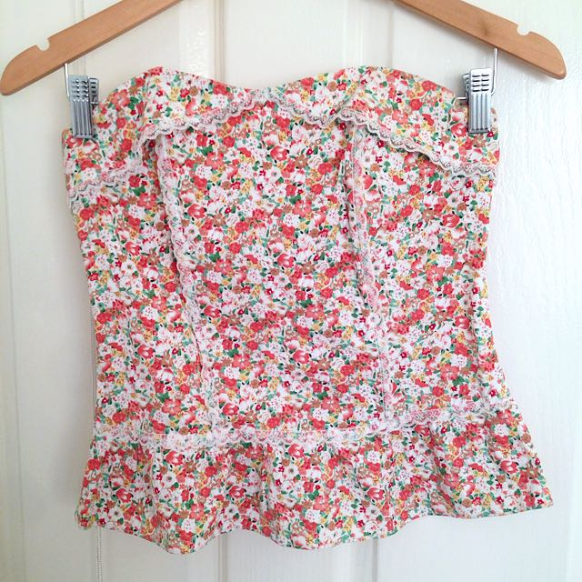 Strapless Floral Corset Top