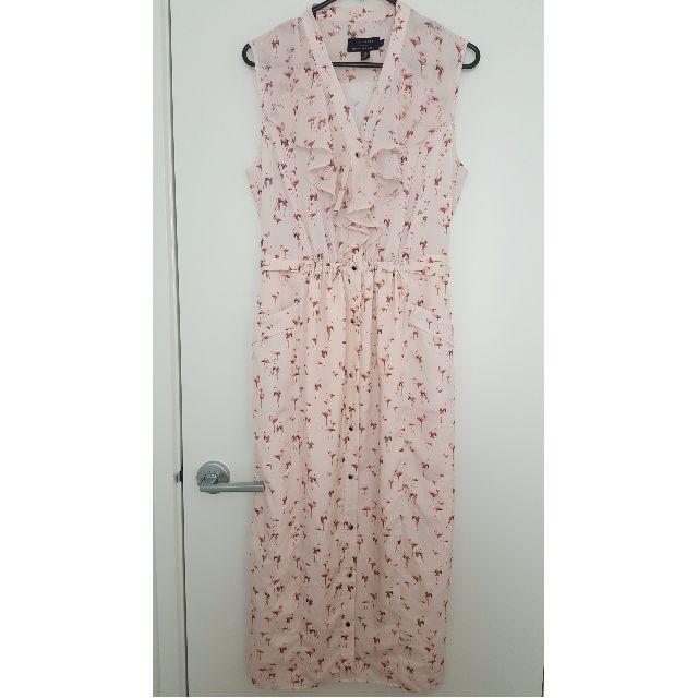Ted Baker long length ruffled flamingo dress
