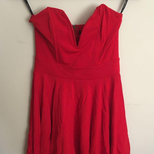 TFNC Red Strapless Dress