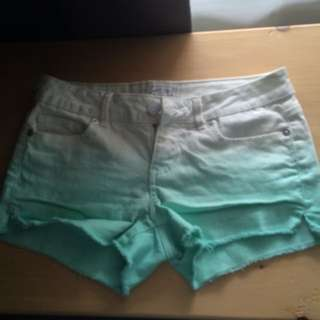 White And Teal Ombré Shorts