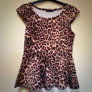 Ladies Leopard Print Peplum Top