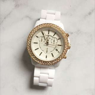White Fossil Watch With Diamantes