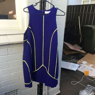 Cameo Blue And Yellow Pipping Shift Dress Fancy Races Size L