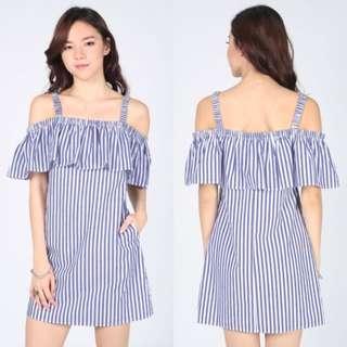BNWT Love Bonito Omayda Striped Off Shoulder Dress Size S