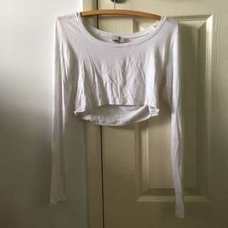 Asos long sleeve white crop top