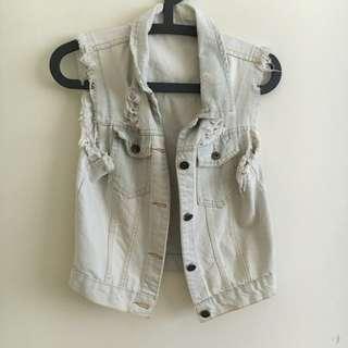 Acid washed denim vest