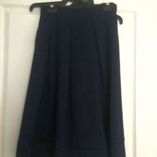 Below Knee Navy Pleated Skirt Size XS