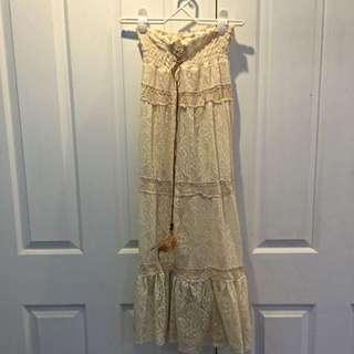 Cream Boho Maxi Skirt