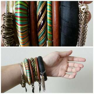 10 Unique Bracelets (Bone + Wood + Fabric + Metal)