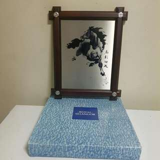 Pewter FRAMED HORSE WALL PLATE