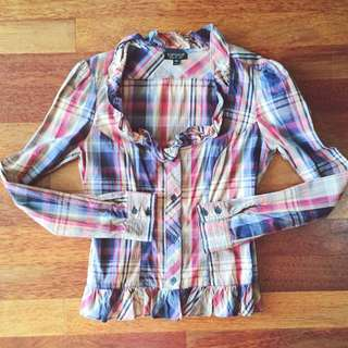 Topshop Checkered Blouse