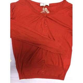 轉賣MIIA 日貨專櫃 正品 針織紅色 薄款 外套/轉賣sasa