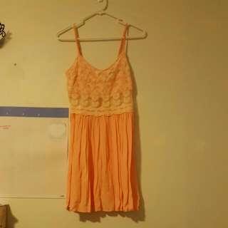 Topshop Peach Floral Lace Dress Sz 6
