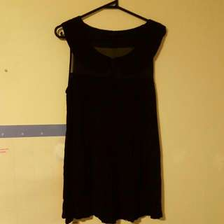 Black Pleated Dress With Meshing And  Peter Pan Collar Sz 8