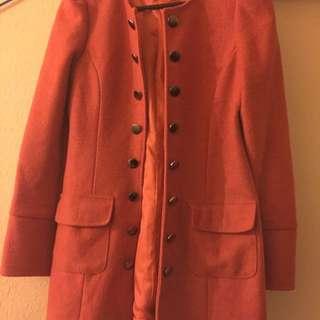 Orange Winter Long Jacket