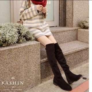 Kashin 小低跟後接彈性布料長靴 麂皮黑 25