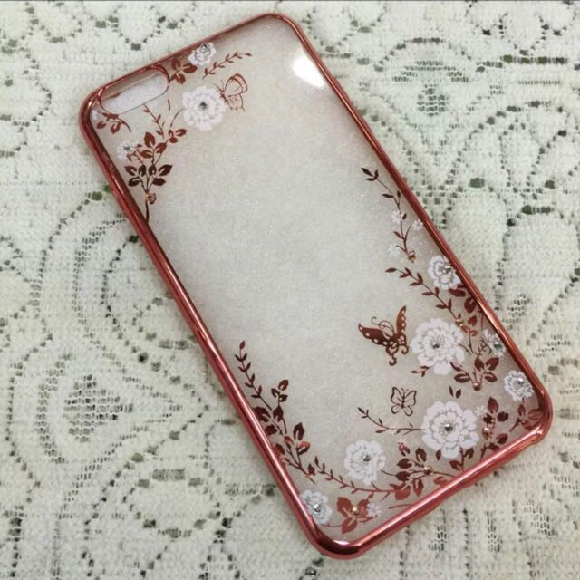 6splus玫瑰金白花手機殼
