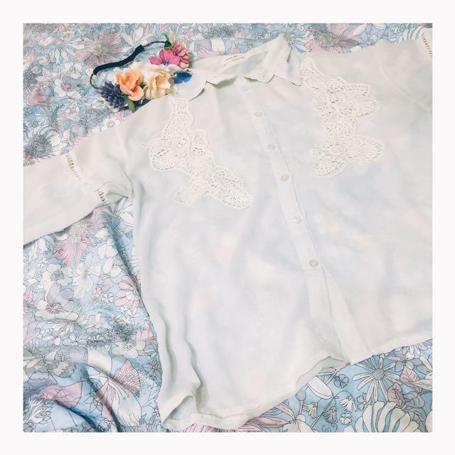 二手👏🏻蕾絲刺繡雪紡襯衫