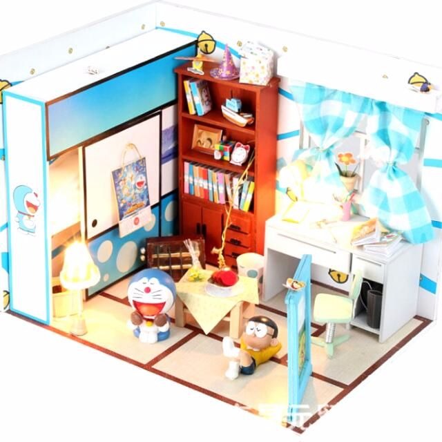 日本卡通小叮噹 DIY袖珍小屋 多啦a夢小屋 附燈光 手工藝品 居家擺設  模型設計 生日禮物