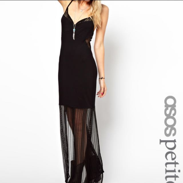 ASOS Sexy 90's Insert Maxi Dress - Black / UK 10