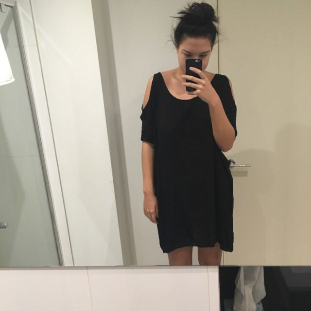 Black Shoulder Cut Out Dress