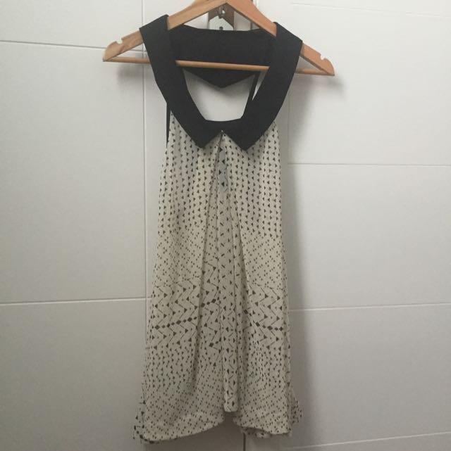 Cream And Black Shirt/dress