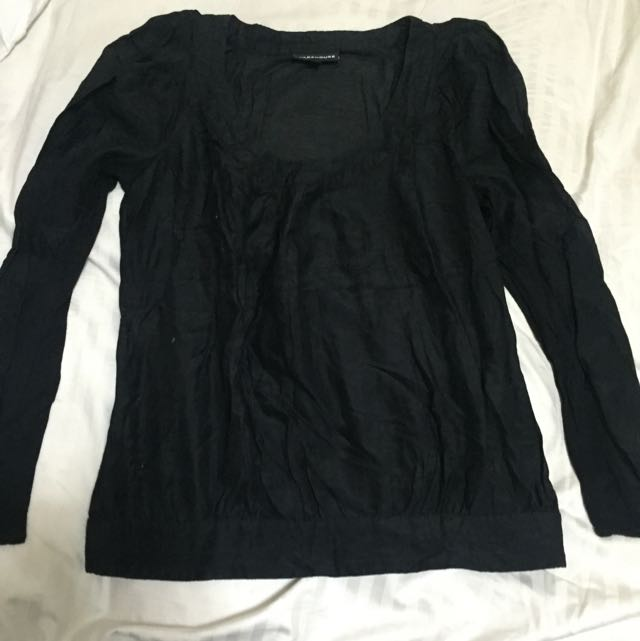 Dark Blue Long Sleeves Top From Warehouse