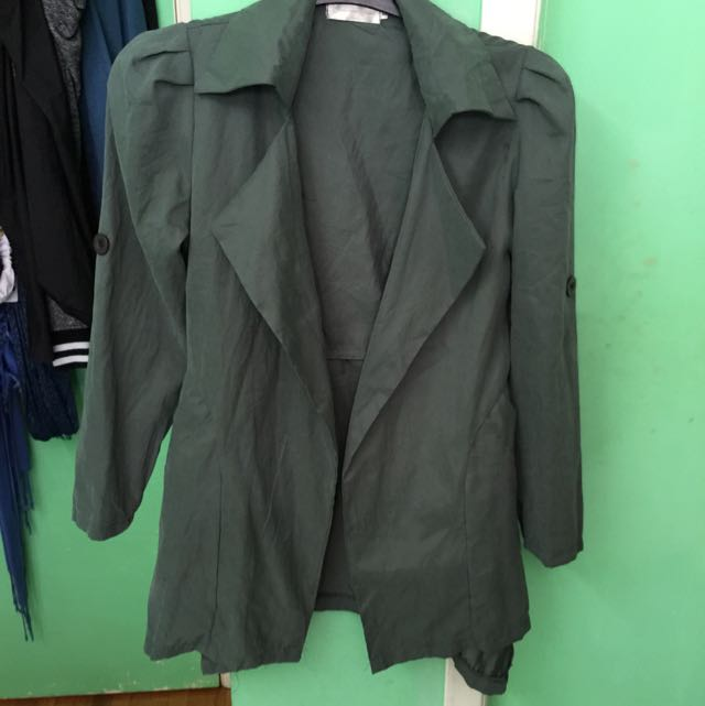 Dark Green trench coat blazer large