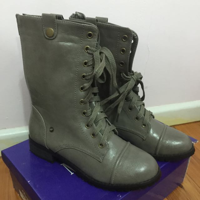 Foldable Grey Lace Up Boots