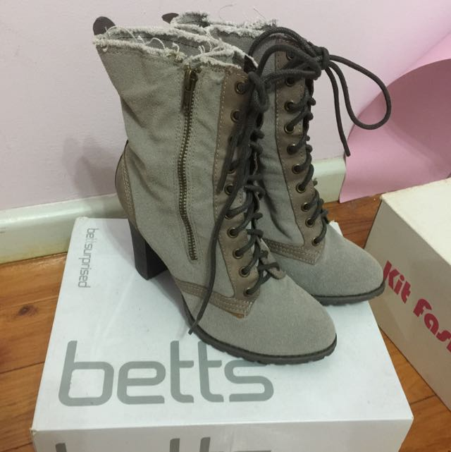 Grey Lace Up Boots With Heels