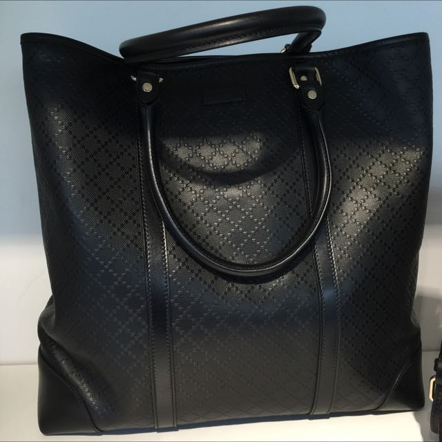 1b53b5e888bc Gucci Men Leather Black Tote Bag, Luxury, Bags & Wallets on Carousell