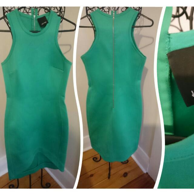 JOSH GOOT NEOPRENE GREEN Dress Size Medium (Aus 10/12)  Rrp US $675