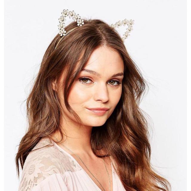 NEW Cream Flower Cat Ears Headband Headpiece