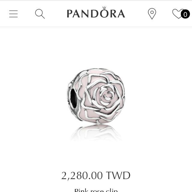 Pandora 潘朵拉玫瑰夾扣墜飾近全新