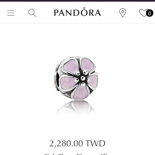 Pandora 潘朵拉櫻花夾扣墜飾近全新
