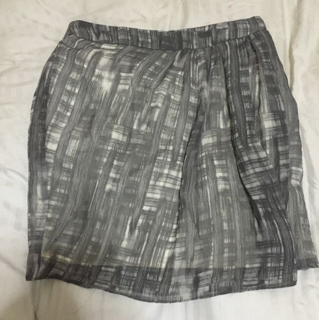 Printer Grey Skirt From F21