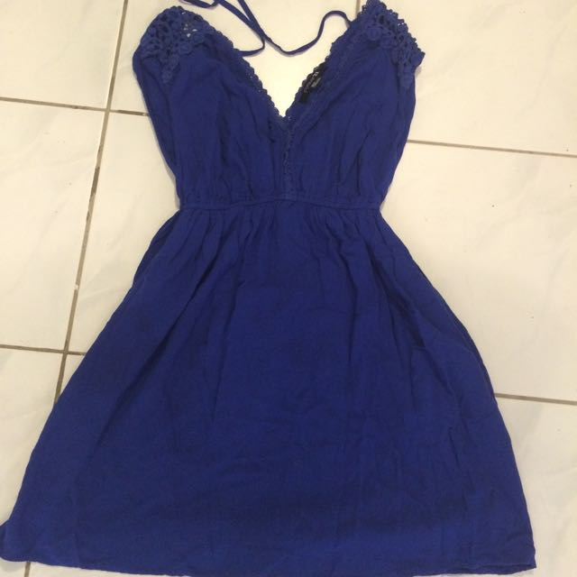 Royal Blue Summer Dress, Forever 21 With Pockets And Spaghetti String Ties