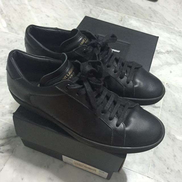 908197440e40 Saint Laurent SL 01 Court Classic Sneaker (Black Leather)
