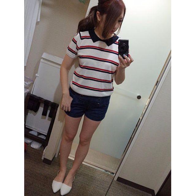 轉賣Samantha 日櫃品牌 條紋 紅黑白 公主袖領子 針織衫