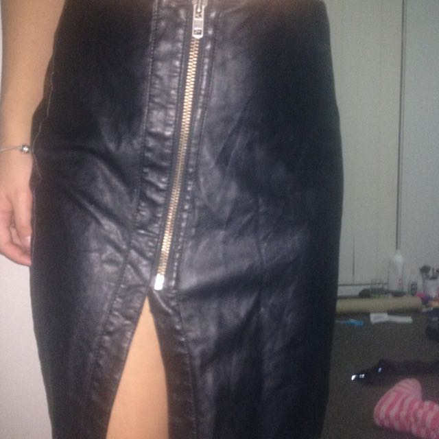 Sportsgirl Black Leather Skirt