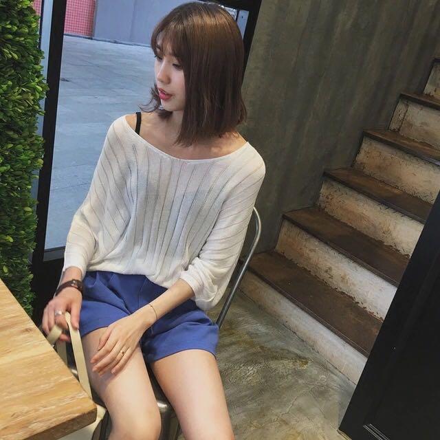 V領純色紋理蝙蝠袖防曬衣韓版寬鬆顯瘦針織衫
