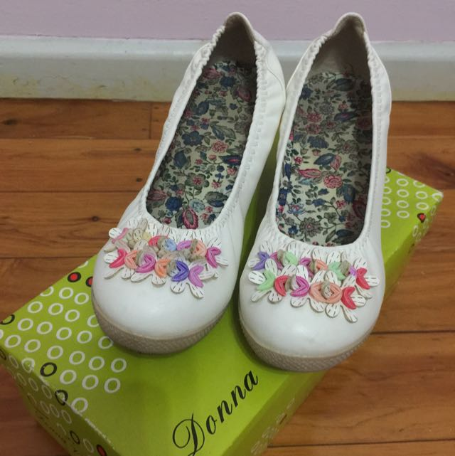 White + Floral Wedge Heeled Shoes