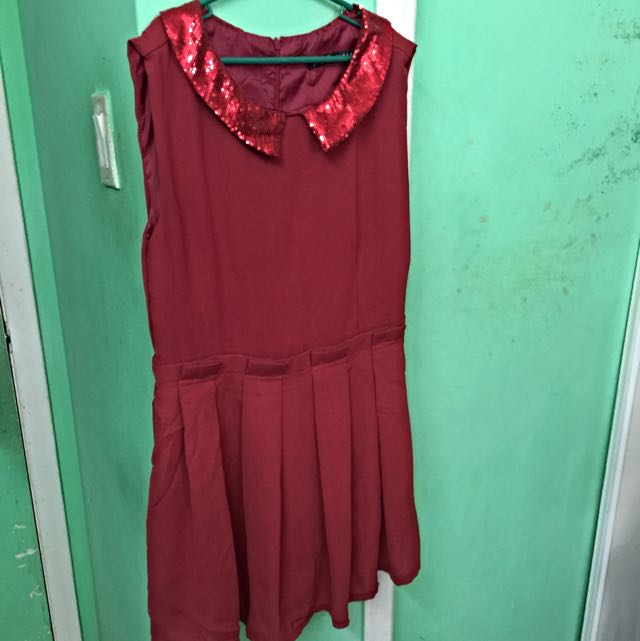 Zara red sequins dress