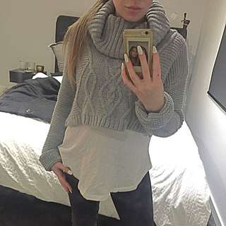 MISGUIDED GREY CROP KNIT