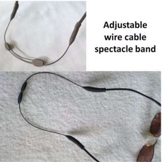 Adjustable wire cable spectacle band