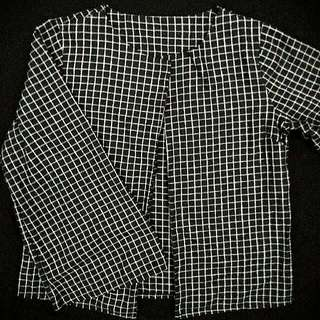 Black & White Checkered Long Sleeve Cape Blouse/Shirt/Top for ladies/women/girls